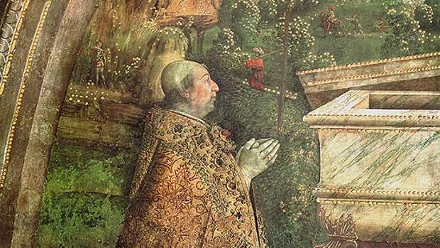 Detalle de la «Resurrección» del Pinturicchio, con el retrato del Papa Alejandro VI (1492-1495)