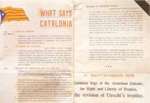 «What says Catalonia», díptico en inglés con fecha del 11 de septiembre de 1918. El Comité Pro Cataluña pide a los Aliados que defiendan el derecho nacional catalán.