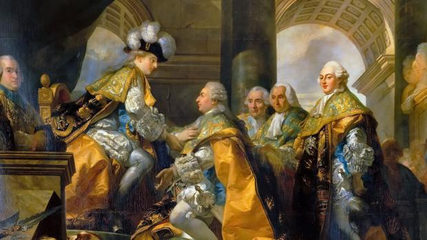 Luis XVI con los Caballeros de la Orden del Espíritu Santo después de su coronación