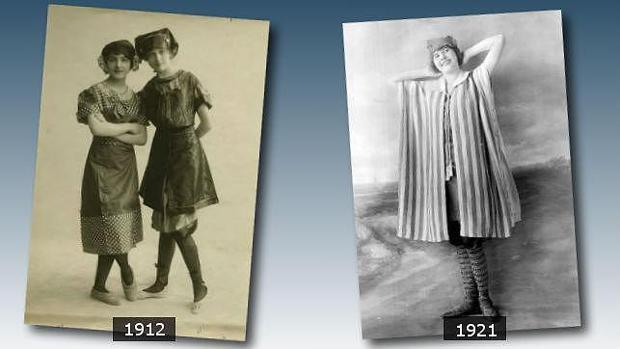 Dos ejemplos de modelos de bañadores sacados del archivo de ABC que tienen aproximadamente un siglo