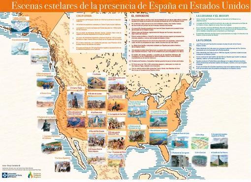 Panel de la presencia de España en Estados Unidos