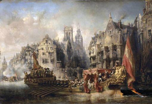 Arribo del Duque de Alba a Róterdam en 1567, por Eugène Isabey, 1844.