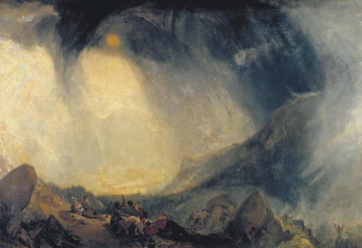Aníbal cruzando los Alpes, pintura de William Turner.