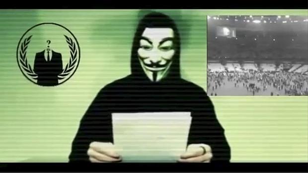 Captura de pantalla del comunicado de Anonymous