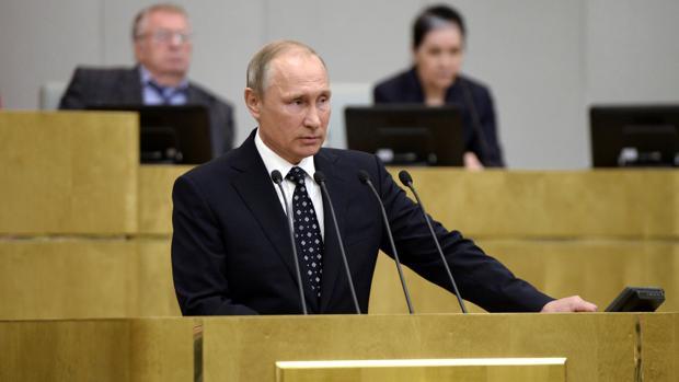 Vladímir Putin, este miércoles, durante un discurso en la apertura del curso de la nueva Duma
