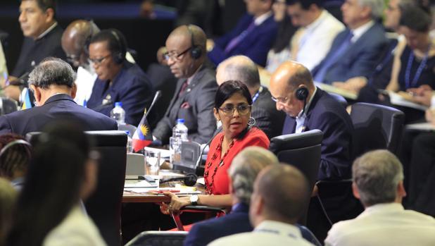 La canciller venezolana, Delcy Rodríguez, en el plenario de la Asamblea de la OEA