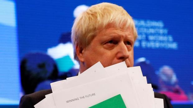 Boris Johnson, tras intervenir el martes en el congreso tory en Mánchester