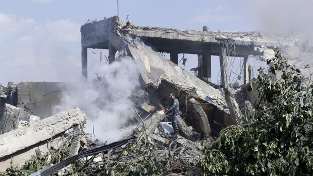 Restos del Centro de Estudios Científicos en Damasco, una de las instalaciones bombardeadas en Siria