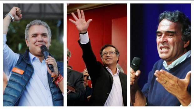 Iván Duque, Gustavo Petro y Sergio Fajardo, candidatos a la presidencia de Colombia