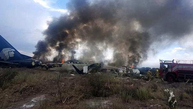 Así quedó el avión de Aeroméxico tras el accidente