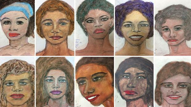 Dibujos realizados por Samuel Little de mujeres que dice haber asesinado