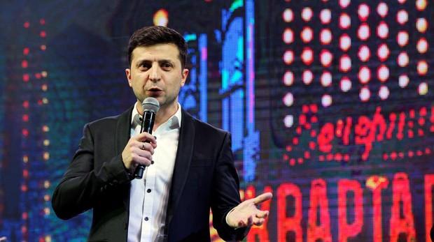 El cómico Vladímir Zelenski, durante un espectáculo en Kiev este viernes