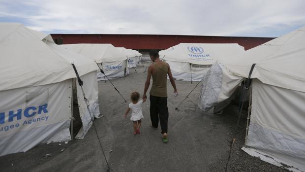 Refugiados venezolanos, la semana pasada en un campo de ACNUR en Boa Vista (Brasil)