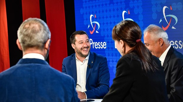Matteo Salvini, durante un debate en la televisión italiana