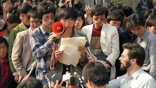 Miembros de las protestas en Tiananmen en 1989