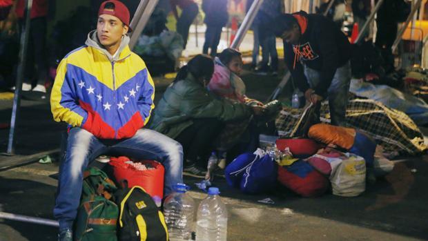 Un grupo de inmigrantes venezolanos, el pasado agosto en Ecuador