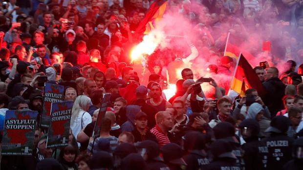 Concentración de radicales de derecha en agosto de 2018 en la localidad alemana de Chemnitz