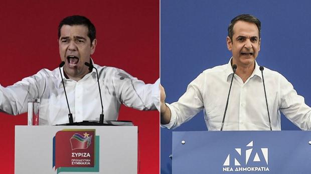 Alexis Tsipras y Kyriakos Mitsotakis, candidatos a las elecciones generales
