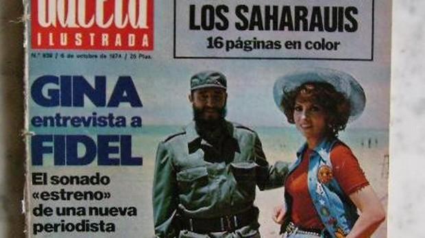 Imagen de la entrevista de Gina Lollobrigida con Fidel Castro