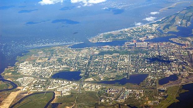 Vista aérea de la localidad de Severodvinsk, en la costa del mar Blanco (norte de Rusia)