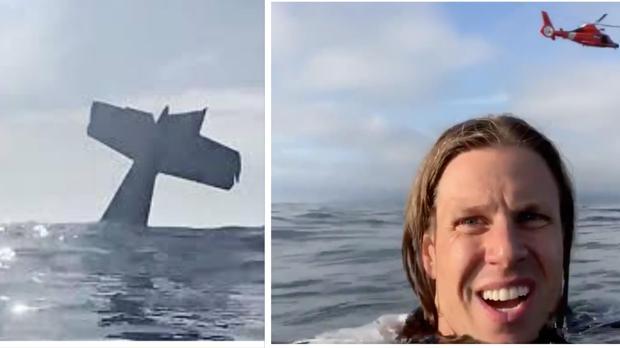 Una avioneta cae al mar y su piloto graba su rescate desde el agua