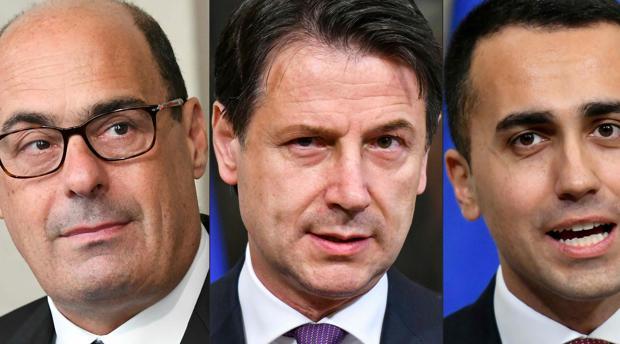 Nicola Zingaretti, líder del PD; Giuseppe Conte prmier ministro de Italia y Luigi Di Maio líder del M5S