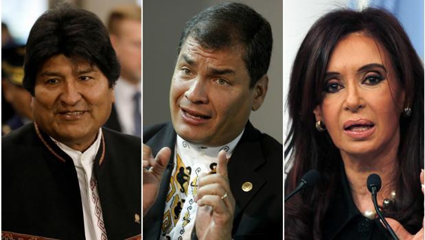 Evo Morales, Rafael Correa y Cristina Fernández de Kirchner