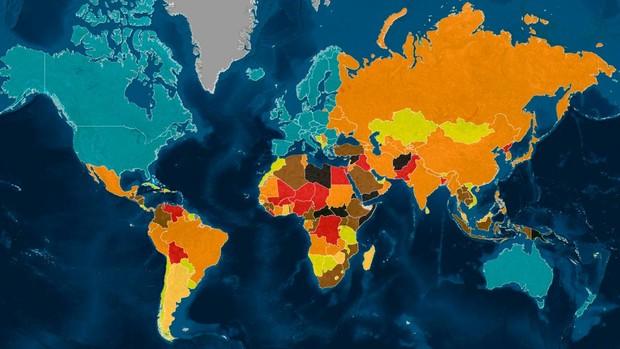 El mapa de los países más peligrosos en 2019