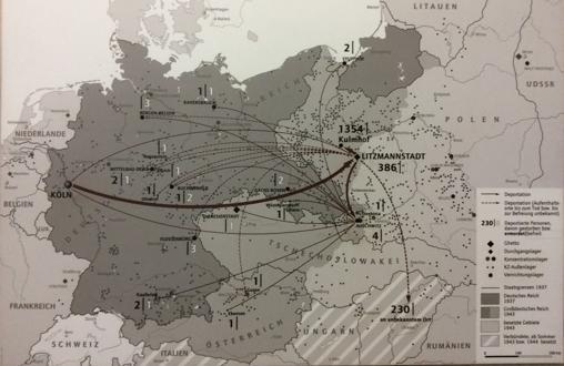 Mapa donde se puede ver la distribución de prisioneros detenidos por la policía nazi