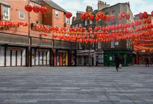 Ausencia de personas en el barrio chino de Londres