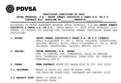 Contrato de Jomadi y Pdvsa