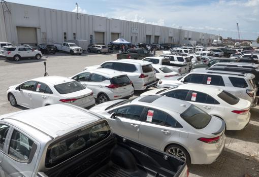 Los más de 80 vehículos incautados en el puerto Everglades de Fort Lauderdale (Florida)