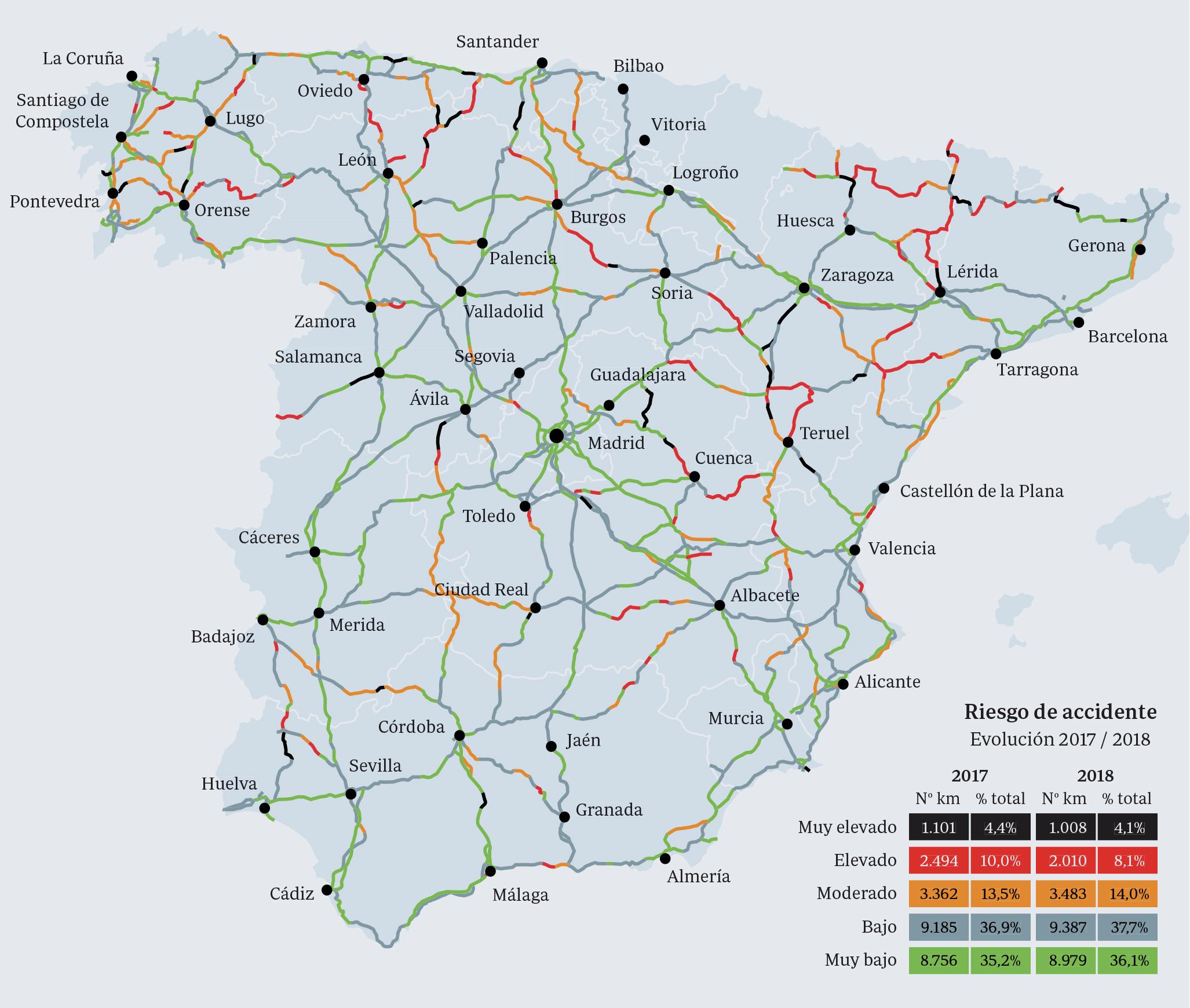 Provincias Mapa De España Carreteras.Mapa Interactivo Los Tramos De Carretera Mas Peligrosos De