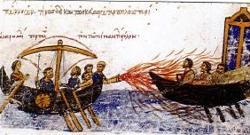 Fuego griego según el Skylitzes Matritensis