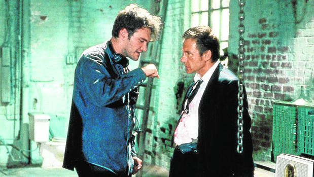 Quentin Tarantino y Harvey Keitel, durante el rodaje de «Reservoir Dogs»