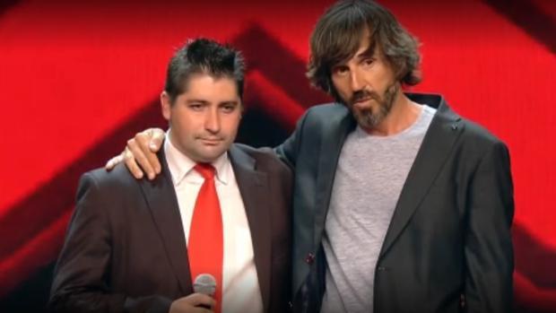 Jordi Giménez, aspirante de Got Talent, junto a Santi Millán durante su valoración