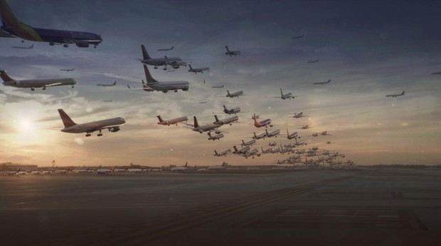 Simulación de un múltiple aterrizaje de aviones en «La vida en el aire»