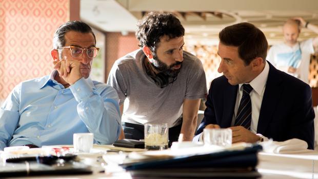 Luis Zahera, nominado a mejor actor de reparto, Rodrigo Sorogoyen, director del «El reino» (13 nominaciones) y Antonio de la Torre, candidato a mejor actor.