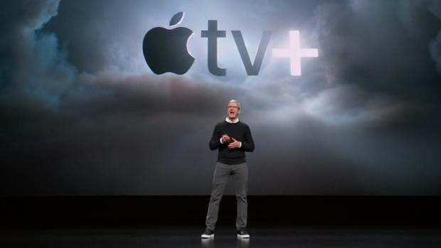 Tim Cook, CEO de Apple, durante la presentación del Apple TV+