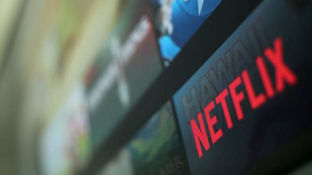 El logo de Netflix en una televisión tomada en Encinitas, California