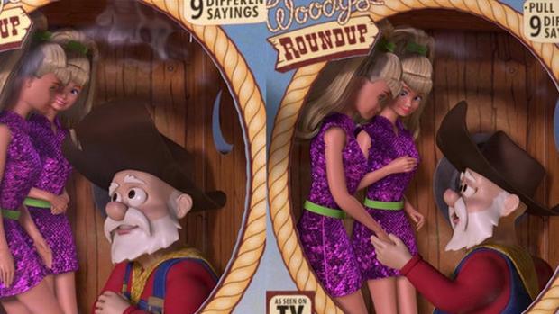 El Oloroso Pete habla con las muñecas Barbie en la escena que Pixar ha decidido borrar del DVD de Toy Story 2