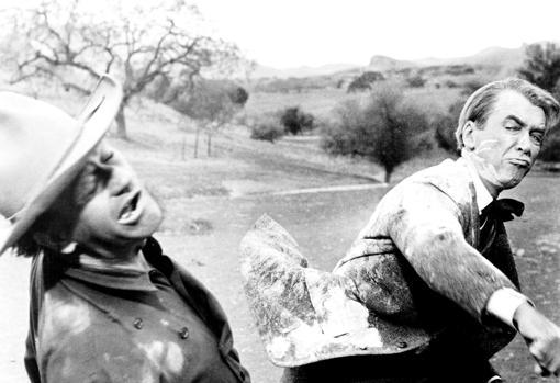 Wayne y Stewart en «El hombre que mató a Liberty Valance»