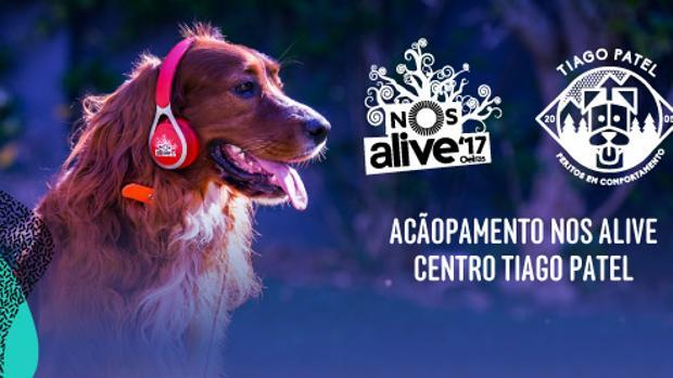Cartel publicitario de la zona de mascotas habilitada en el Festival Nos Alive en Portugal