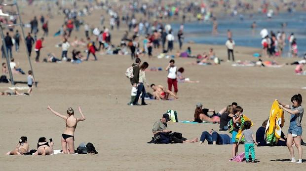 La playa de la Malavarrosa, el pasado fin de semana de febrero