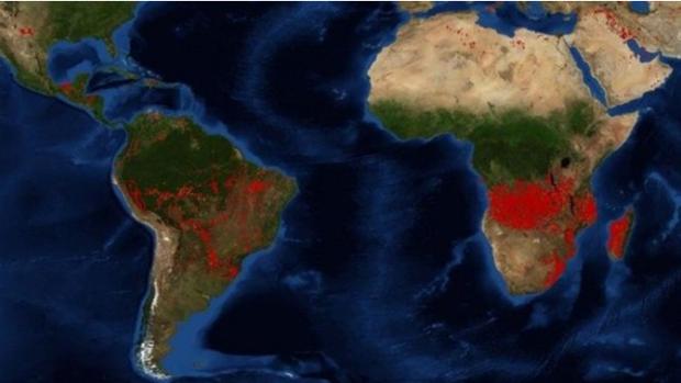 Imagen de la NASA en la que muestra los focos activos mundiales