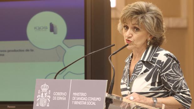 María Luisa Carcedo, ministra de Sanidad, en funciones durante la inauguración de la jornada