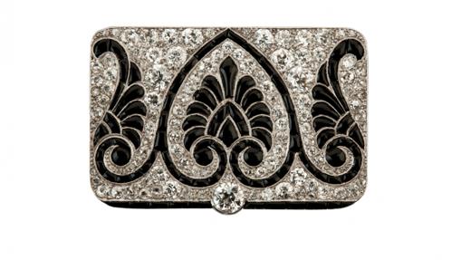 Broche Art Decó en platino, diamantes y ónix. Firmado Cartier. Circa 1910