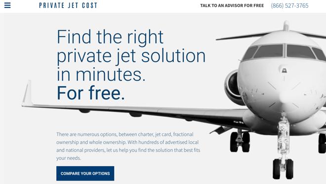 El buscador privatejetcost.com ofrece la mejor opción de avión privado para cada ocasión