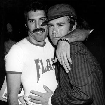 Freeddie Mercury and Elton John in 1980