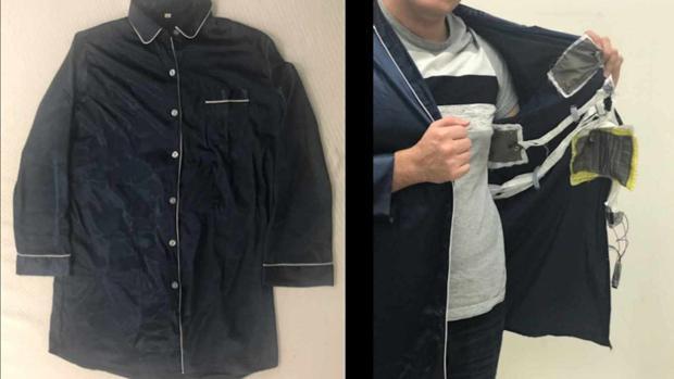4f709b96d0d8 Soluciones Una chaqueta tradicional de pijama a la que se le han incorporado  los sensores para que